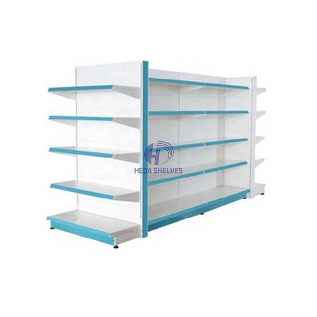 White double side shopping shelf